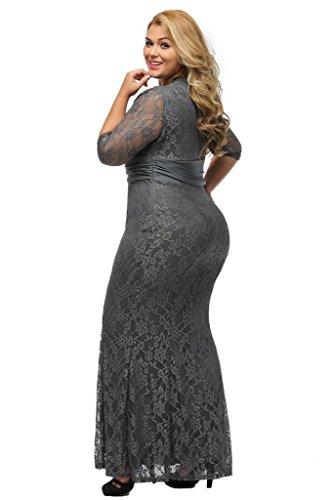 ILFtrend Spitze Elegante Halbarm Kleid Große Größen Partykleider Cocktail Maxikleid Grau
