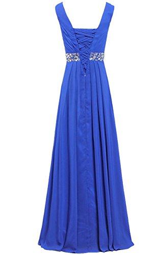 HWAN Frauen Aline V-Ausschnitt Kleider lange plissierte Chiffon Brautjunferkleid-Abend Königsblau
