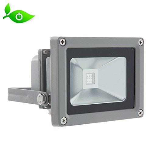 LED RGB Außenstrahler 10W inkl. Funkfernbedienung mehrfarbig IP65, 230V, Aluminiumgehäuse (Flut-licht-halter)