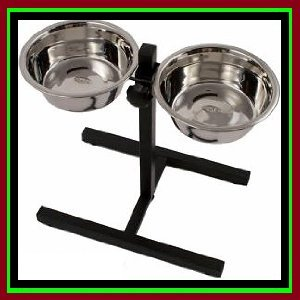NEW 4 Pint Stainless Steel Adjustable Double Dinner Feeding Bowl Set Stand Rack from R&T