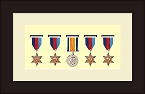 Kwik Picture Framing | Military / War / Sports Medal 3D Box Picture Frame Fits Five Medal - Black Frame with Ivory