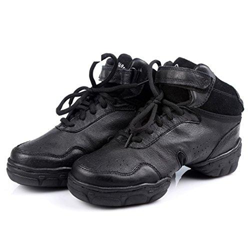 ZQ@QXComodo e traspirante soft lady alta scarpe scarpe da ballo square scarpe da ballo black