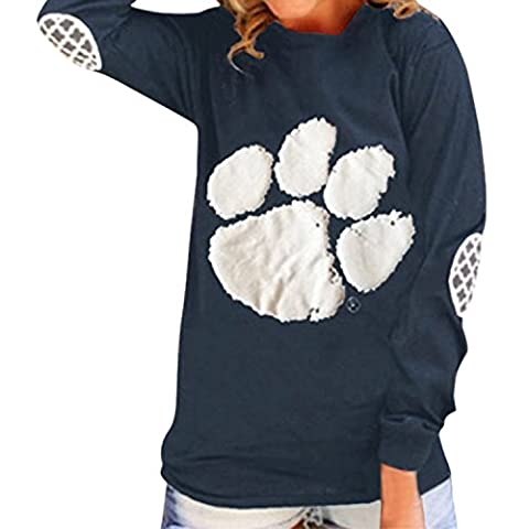 LAEMILIA Women's Spring Casual Bear Paw Print Long Sleeve Round Collar Tunic Tops T-Shirt Blouse (UK10,