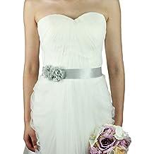 Lemandy - Cinturón para vestido de novia hecho a mano con dos flores para boda y