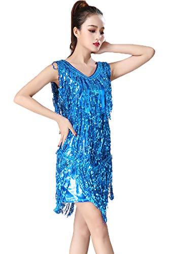 2 Kostüm Stück Lyrischen Tanz Blau - LONMEI Damen Tanz Kleid Sexy V - Praxis Latein Salsa Cha Cha Rumba Tango-Ballsaal-Kostüm mit Pailletten Quastenn Kleid, See-Blau/2XL