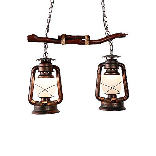 FTLY Antike Laterne Hängende Lampe Amerikanischen Land Retro Kerosin Deckenleuchte E27 2-licht Industrielle Kreative Pendelleuchte Restaurant Dekoration Kronleuchter -