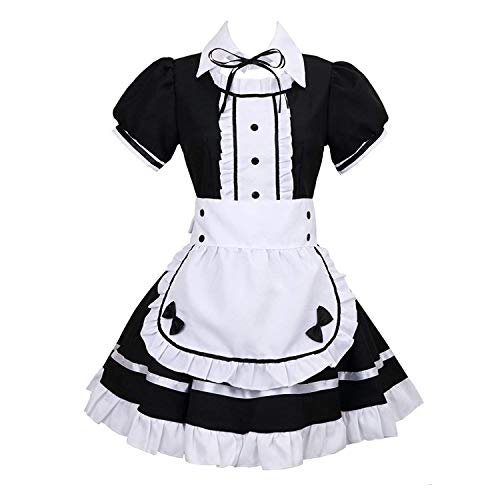 Cosplay Kostüm Anime Maid - tzm2016 Damen Lolita French Maid Cosplay Kostüm, 4 PCS als Set inkl. Kleid; mit Kopfbedeckungen; Schürze; Fake Halsband (schwarz)XXX-Large
