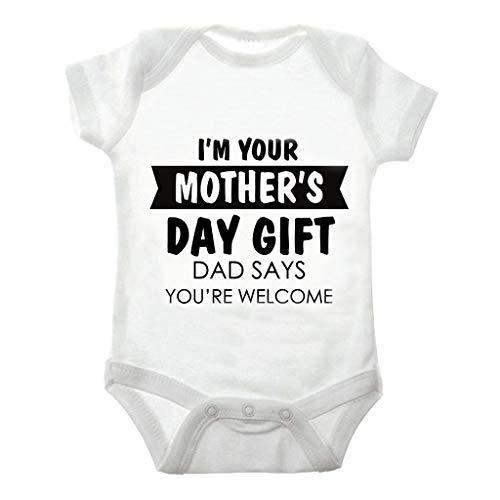 Knowin-baby body Kurzarm Kleinkind Kleinkind Baby Jungen Mädchen Kurzarm Brief Overall Strampler Kleidung Baby Shirt Muttertag Jungen Vatertag Shirts Mädchen Weiß