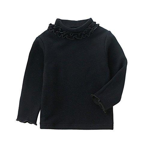 Babykleidung Tops,Honestyi Winter Herbst Baby Kleidung Mädchen Langarm Solid Kaschmir Kragen Tops Winter T-Shirt warme Kleidung (Schwarz, 5T/120CM) (5t-shirt)