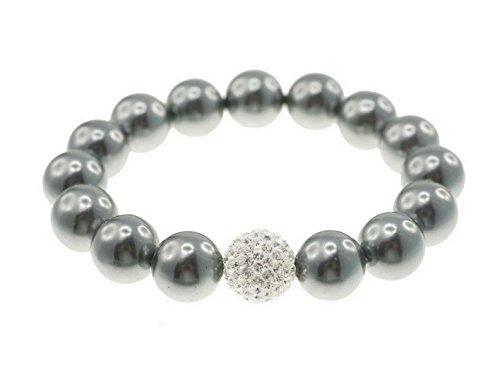 Creative-Beads Muschelkernperlen Armband, 12mm Perle, elastisch 19-20cm, mit glitzernder Diamond-Strasskugel Crystal, DKL.grau