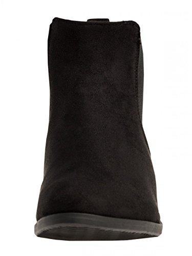 CASPAR SBO054 Bottines Chelsea vintage pour femme Noir