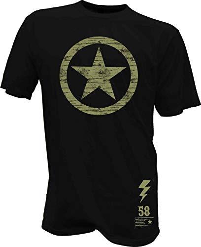 T-Shirt Stern USA Army Biker Hot Rod Bike Pilot Vintage Retro Oldscool Flieger