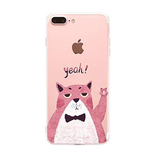 iPhone 7 Plus hülle vanki® Schutzhülle Blütenblatt Clear Case Cover Bumper Anti-Scratch TPU Silikon Handyhülle für iPhone 7 Plus(5,5 Zoll) (J) cat