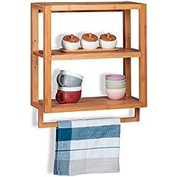 Relaxdays Estantería de bambú, Tres estantes, Toallero, Balda extraíble, De Pared, Marrón, 58,5x52x21 cm baño, 58.5 x 52 x 21 cm