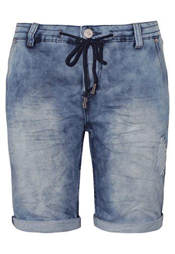 Urban Surface Damen Sweat Bermuda-Shorts in Jeans Optik | Kurze Hose mit Aufschlag und Kordel im Used Look