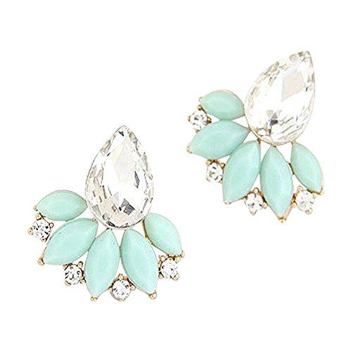 Blumen Ohrstecker für Frauen Kristalledelstein Ohrringe Ohrschmuck Modeschmuck (Mint)