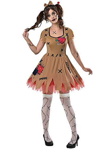 (Amscan Erwachsene Damen Rag Voodoo Puppe Kostüm Halloween Broken Zombie Fancy Dress Damen)