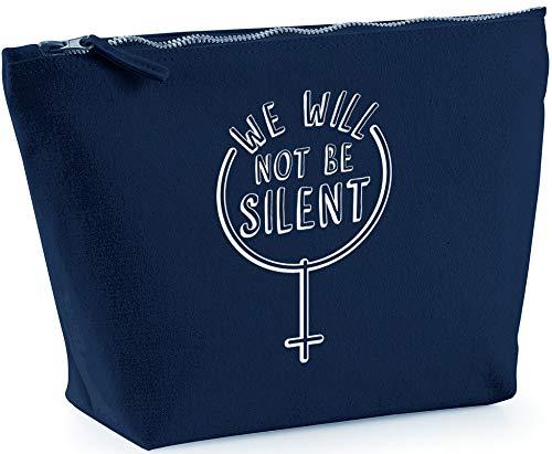 Hippowarehouse We Will Not be Silent Women Feminism Bolsa de Lavado cosmética Maquillaje Impreso 18x19x9cm