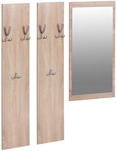 ts-ideen 3er Set Garderobe Spiegel + 2 Wandpaneele Flurgarderobe Kleiderhaken Eiche Sonoma Hell Braun Holz