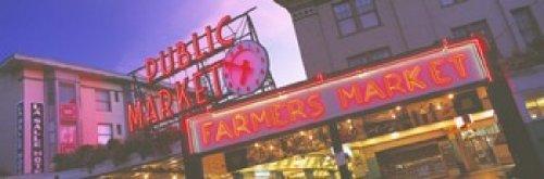 Panoramic Images – The Public Market Seattle WA USA Photo Print (91,44 x 30,48 cm)