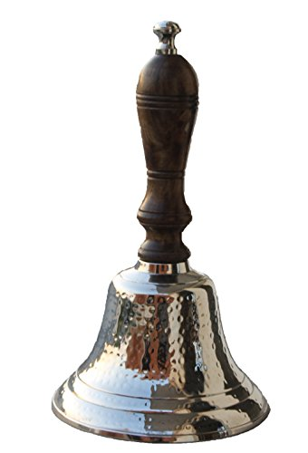 Parijat Handwerk Hand Held Service Call Bell gehämmert Nickel Finish mit Holzgriff, 27,9cm L. Messing Abendessen Bell ideal Geschenk für Home Büro, Schule, Lehrer, Nautical, SPA, Aromatherapie