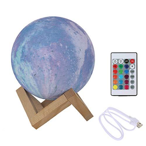 Xmansky LED Mond Lampe mit Fernbedienung Dekoleuchte 3D Mond Kunst LED RGB Mondlicht tragbares Nachtlicht mit Schlagschalter eingebaute Batterie dimmbar,PLA PVC Material (Pulverblau)