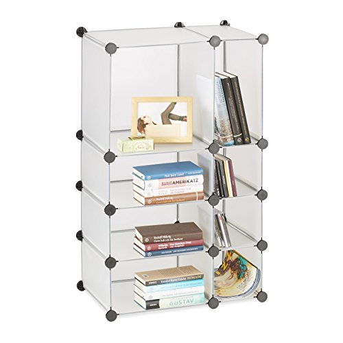 Relaxdays Regalsystem Steckregal mit 8 Fächern, flaches Standregal für das Büro, Kunststoff...