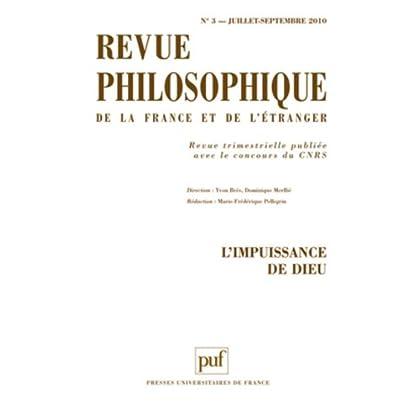 REVUE PHILOSOPHIQUE 2010 TOME 135 - N° 3