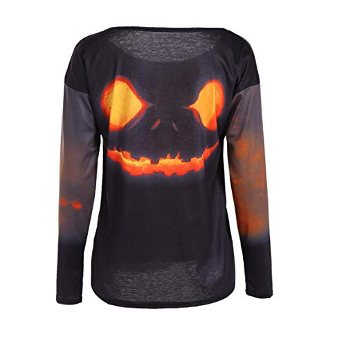 7e021a142b91 Kongqiabona Women Funny Pumpkin Printed T-Shirts Long-Sleeved Round Collar  Halloween Party Costume