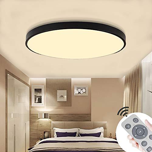 COOSNUG 60W Modern LED Deckenleuchte Dimmbar Schwarz Rund Deckenlampe Flur Wohnzimmer Lampe Schlafzimmer Küche Energie Sparen Licht Wandleuchte [Energieklasse A++]