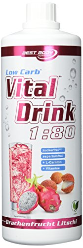 Best Body Nutrition - Low Carb Vital Drink, Drachenfrucht-Litschi, 1000 ml Flasche