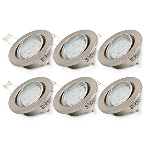 B.K. Licht lot de 6 spots encastrables orientables, ampoules LED GU10 6X3W fournies, éclairage plafond, luminaire encastrée, blanc chaud, 230V, IP23