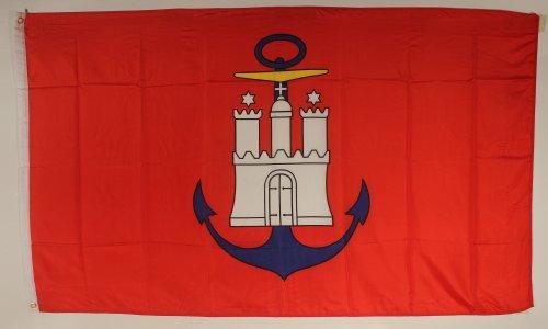 Flagge Fahne ca. 90x150 cm : Hamburger Hafenflagge blauer Anker Hamburg