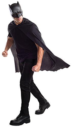Rubie's Batman-Maske und Umhang für Erwachsene, offizielles Produkt, Einheitsgröße, Schwarz (Lizenziertes Superman Kostüm)