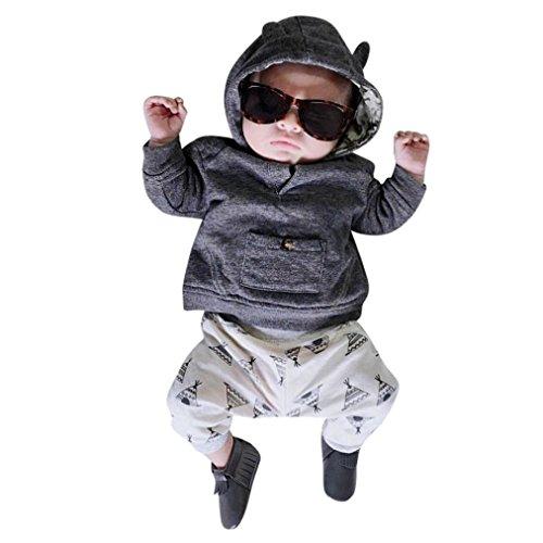 Babys Tops Hosen, Janly Infant 2 Stücke Casual Druck Outfit mit Hoodie Pullover Sweatshirt Legging für 0-18 Monate Jungen Mädchen (0-3 Monate, Grau) Sweatshirt Leggings