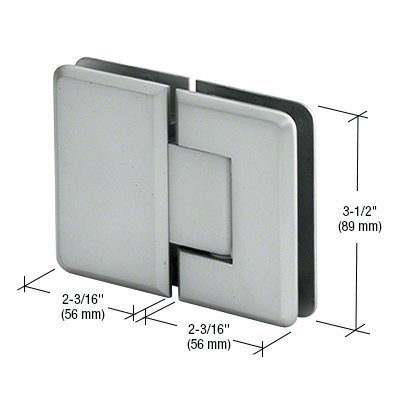 CRL Pinnacle 180 Series Satin Chrome 180º Glass-To-Glass Standard Hinge by C.R. Laurence -