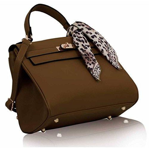 GetThatBag® Millie Faux Croc Tote Lucchetto Kelly borsa delle donne - Nero / Marrone / Grigio / Blu / Arancio Coffee