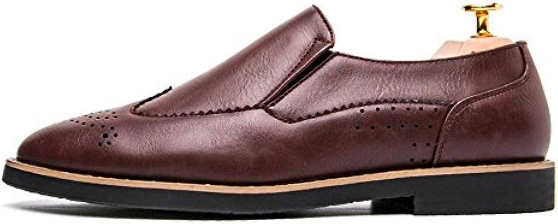 Zapatos de Cuero Brogue Wingtip para Hombre Zapatos de Vestir Casual Oxford clásicos
