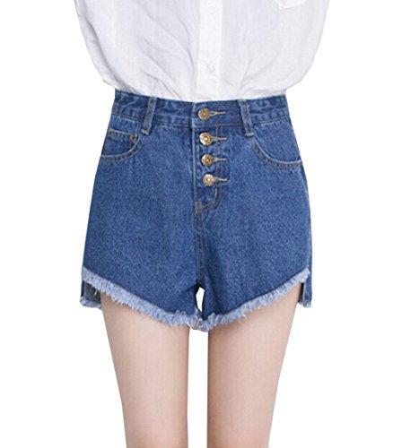 Blansdi Damen Mädchen Frauen Beiläufig Sommer Sexy Hohe Taille Burr Lose Kurz Mini Jeans Jeansrock Denim Kurze Hose Shorts Hot Pants Clubwear Blau