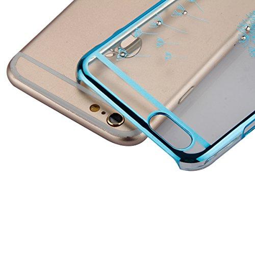 iPhone 6 Plus Hülle,iPhone 6S Plus Bling Case - Felfy Luxe Ultradünnen Weich Silikon TPU Silikon Handy Hülle Schutzhülle Durchsichtig Bling Glitzer Sparkles Shiny Case Kratzfest Bumper Soft Rückseite  Löwenzahn Blau