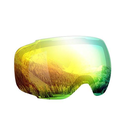 Enkeeo - Lentes Desmontable para gafas de esquí, con 100% UV400 protección para esquiar, Snowboard Patinaje sobre nieve y los Deportes de invierno (Lentes de Amarillo)