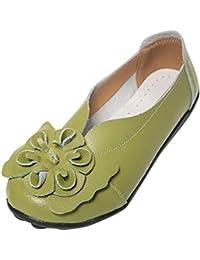 b81a25119add6a Alaso Femmes Fleurs Cuir Mocassins Casual Bateau Loafers Ballerines Plates Pas  Cher Confort Chaussures de Conduite