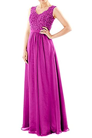 MACloth Women V Neck Lace Chiffon Long Prom Dresses Formal Party Evening Gown (38, Fuchsia)