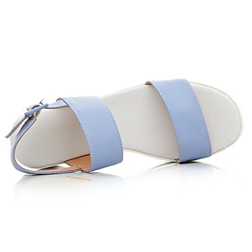 Voguezone009 Femmes Open Toe Buckle Mi Talon Pure Brillant Tissu Bleu Sandales