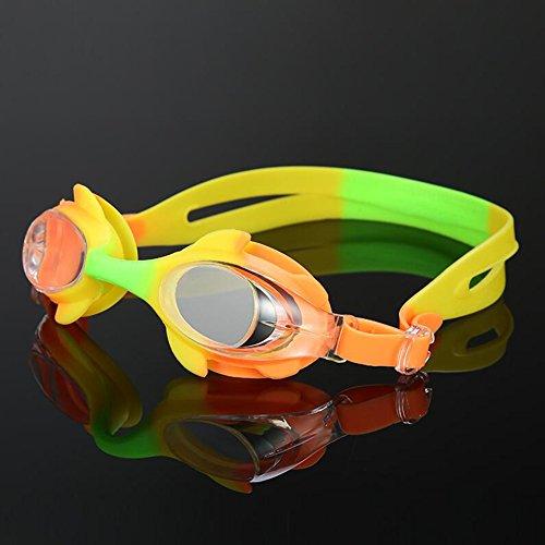 Sunny Honey Kinder Kids Schwimmen-Schutzbrillen-Nette Flache Spiegel-Wasserdichte Anti-Nebel Trainings-Ausrüstung (Farbe : B)