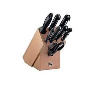 Zwilling Twin Gourmet Messerblock, 31665, 9-tlg, 320 x 115 x 290 mm, natur, genietet, Vollerl, Friodur Klinge