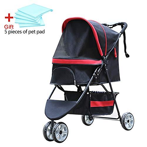 Wooce Pet Travel vettore gatto cane passeggino passeggino a ruote trolley, cucciolo, antiurto, singola ruota anteriore rotazione di 360°, facile da piegare e installazione