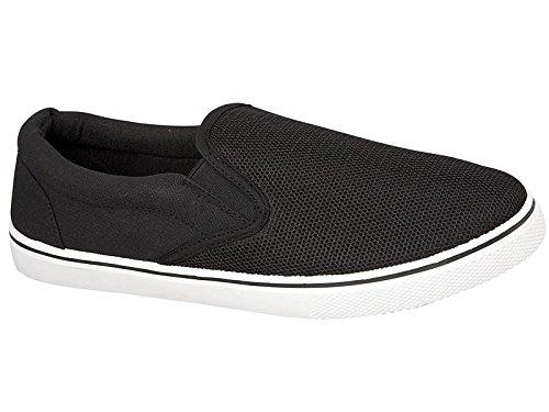 Foster Footwear , Herren Sneaker Weiß schwarz / schwarz (Schwarze Canvas-loafer)