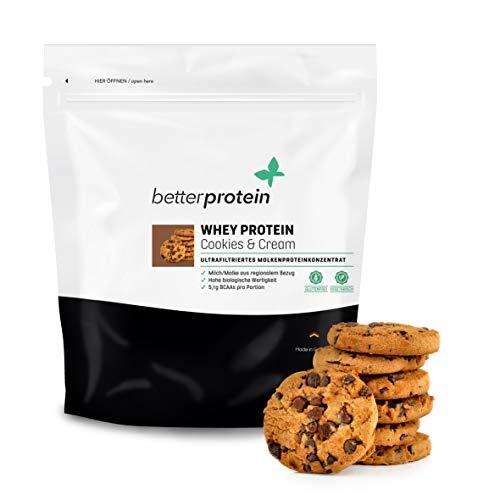 Whey Protein - Cookies & Cream 1 kg - Hergestellt in Deutschland aus regionaler Milch - BetterProtein® - Eiweißpulver zum Muskelaufbau und Abnehmen - Beutel