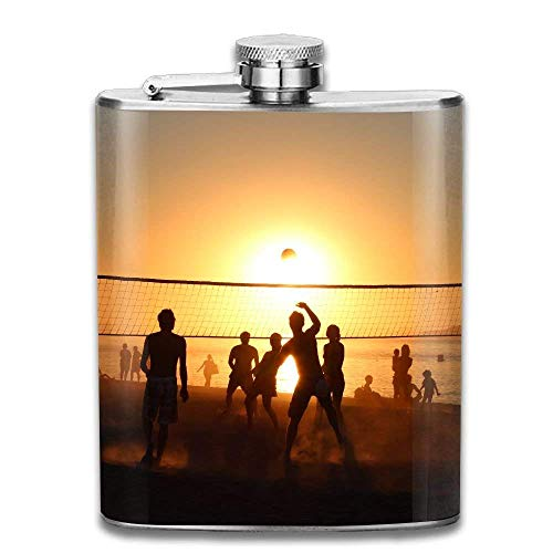 deyhfef Beach Volleyball Under Setting Sun Fashion Portable 304 Stainless Steel Leak-Proof Alcohol Whiskey Liquor Wine 7OZ Pot Hip Flask Travel Camping Flagon